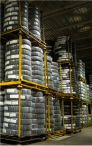 whitewall tires in a storage warehouse